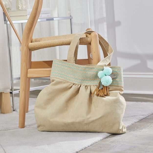 Dual Duty Made in the Suede Tote with optional tassel or pompom in color