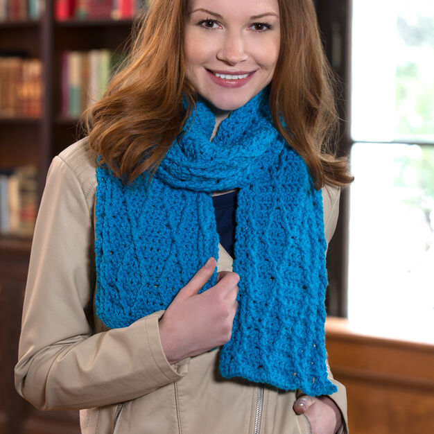 Red Heart Cable Warm Wishes Scarf in color
