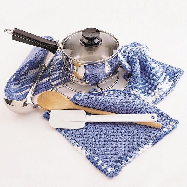 Bernat Dishcloth and Pot Holder, Dishcloth in color