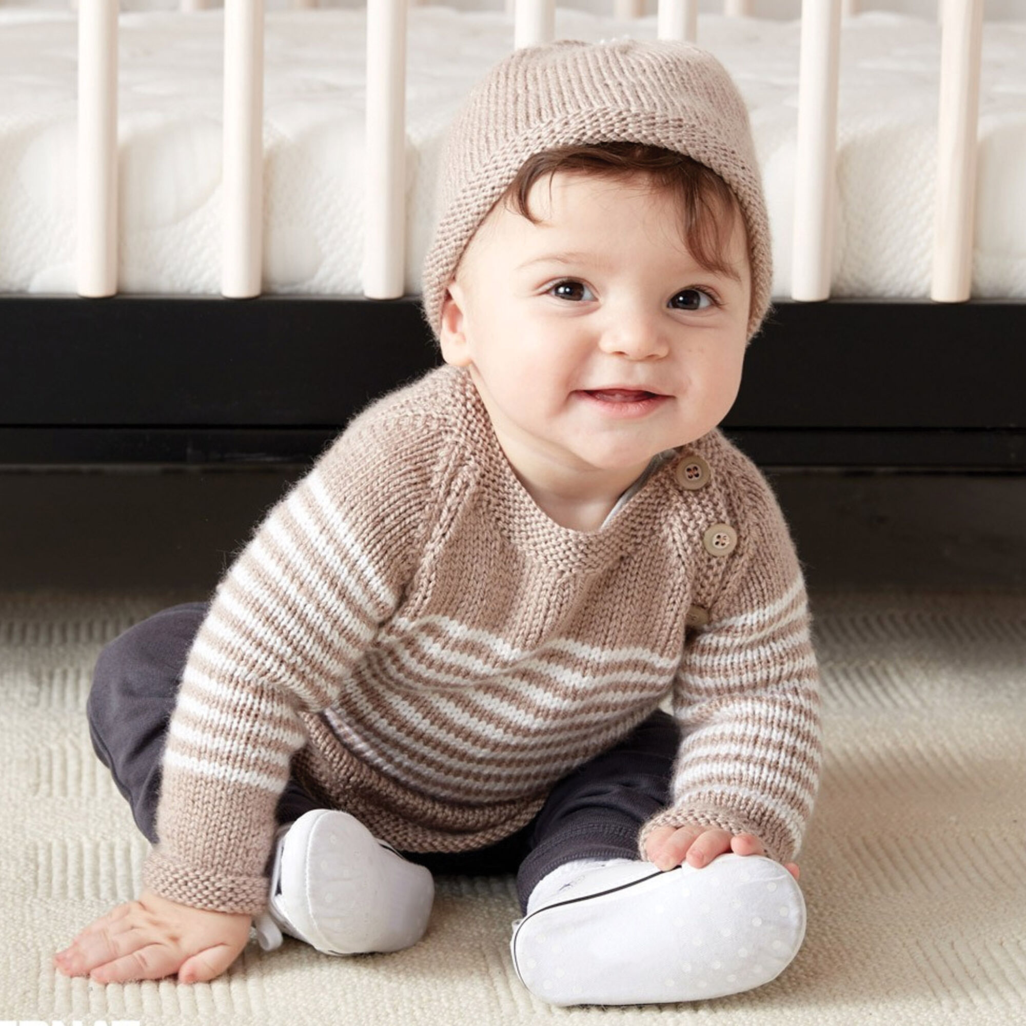 f5104ec8ab29 Bernat Wee Stripes Knit Pullover and Hat
