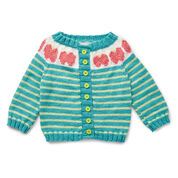 Bernat Five a Day Knit Cardigan, Apple - 6 mos