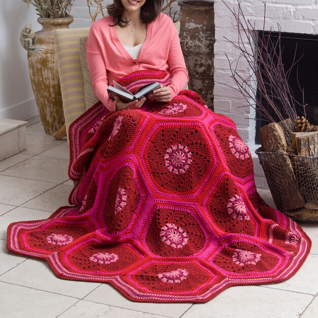 Red Heart Ruby Hexagon Throw in color