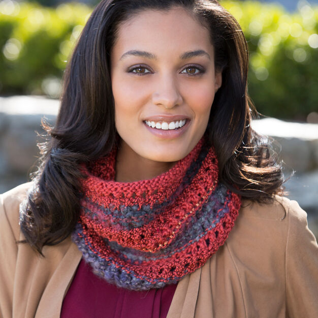 Red Heart Four-in-One Cowl in color