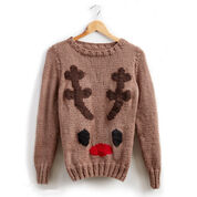 Patons Reindeer Knit Holiday Sweater, XS/S