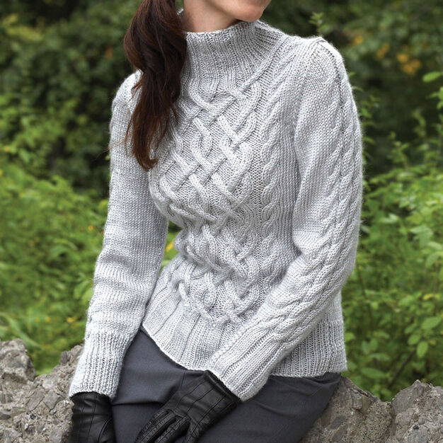 Bernat Sterling Cables Sweater, XS/S in color