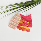 Red Heart Striped Knit Scrubby Mitt
