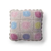 Caron Crochet Circle in Square Pillow