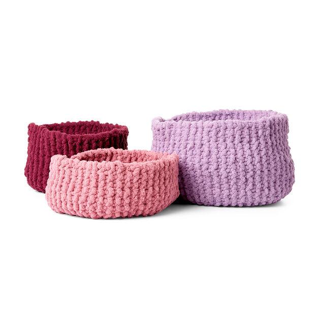 Bernat Garter Stitch Knit Baskets, Small