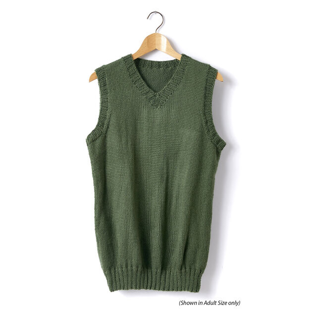 Caron Child's Knit V-Neck Vest, Size 2