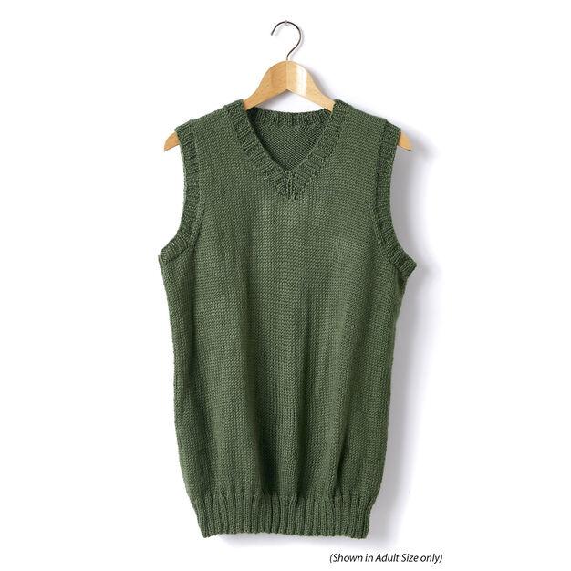 Caron Child's Knit V-Neck Vest, Size 2