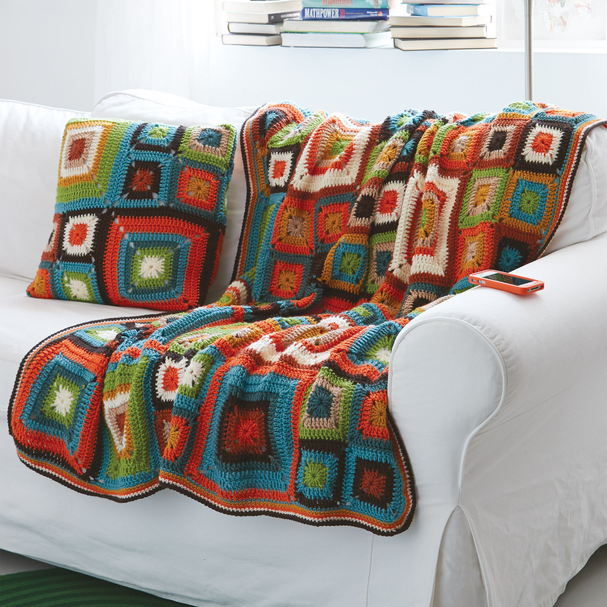 patons bright squares blanket and pillow set yarnspirations
