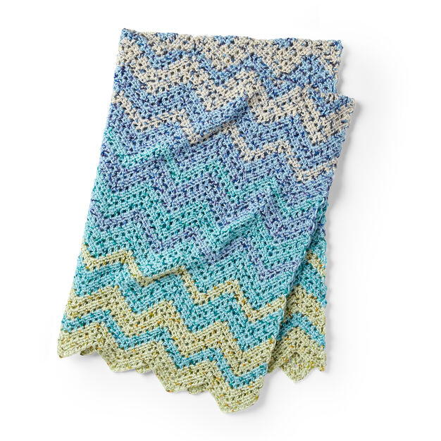 Caron Fading Colors Zig Zag Crochet Afghan in color