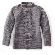 Bernat Center Fan Knit Pullover, XS/S