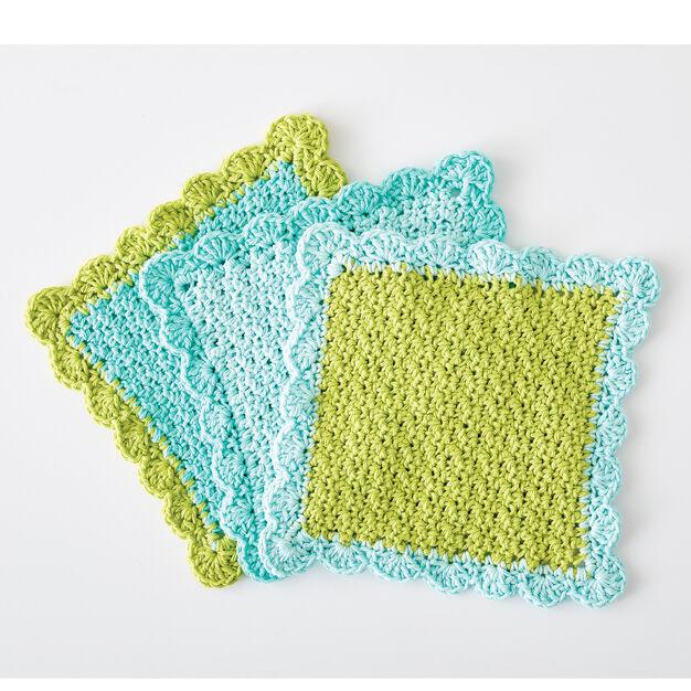 Lily Sugar'n Cream Scalloped Crochet Dishcloth, Version 1