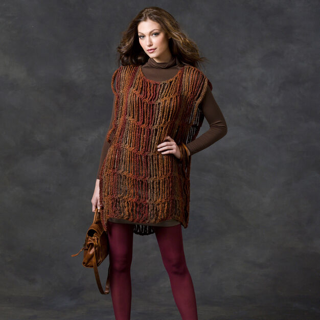 Red Heart Drop Stitch Tunic in color