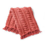 Bernat Crochet Cables Afghan, Terracotta Rose