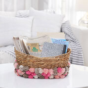 Red Heart Pompom Storage Basket