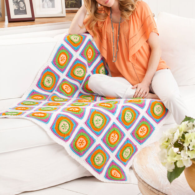 Red Heart Citrus Smoothie Throw in color
