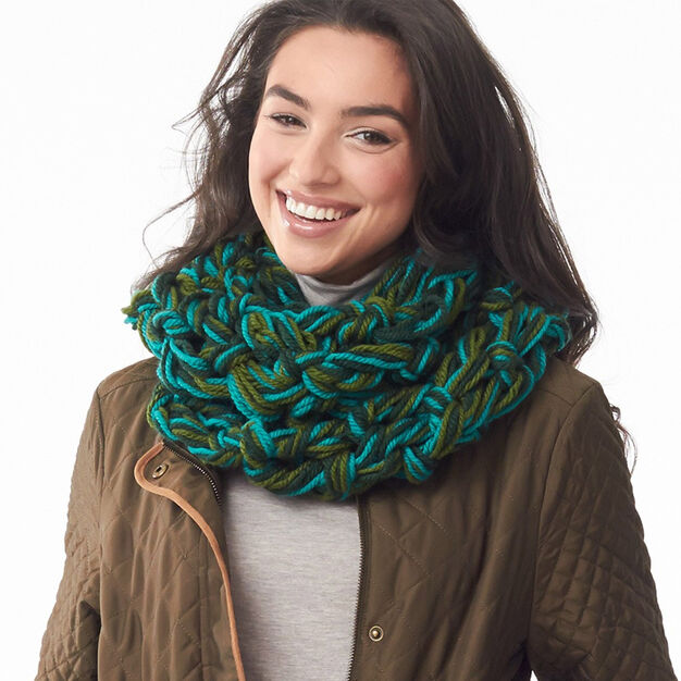 Bernat Field of Greens Arm Knit Cowl in color