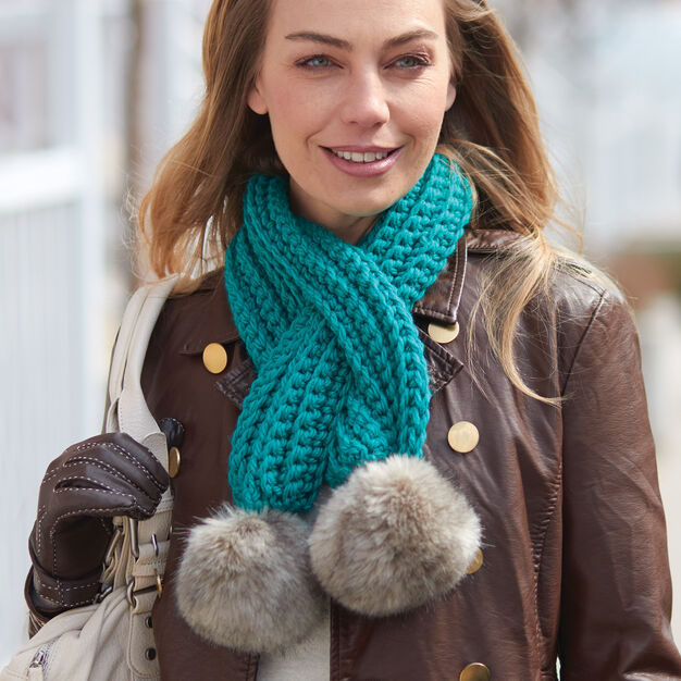 Bernat Pull-Through Pompom Scarf in color