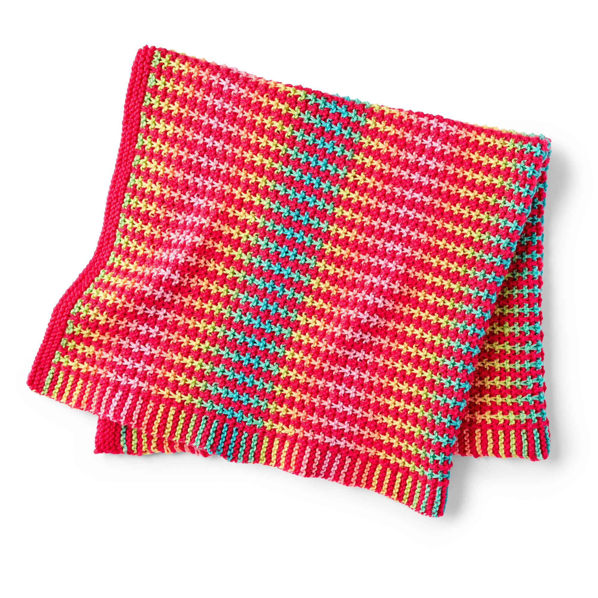 easy slip stitch knit baby blanket pattern in color stripe yarn.