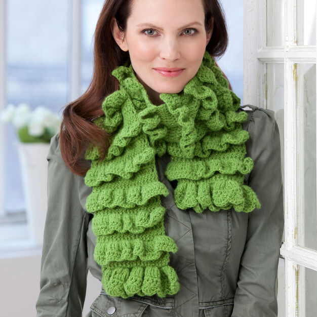 Red Heart Rows of Ruffles Scarf in color