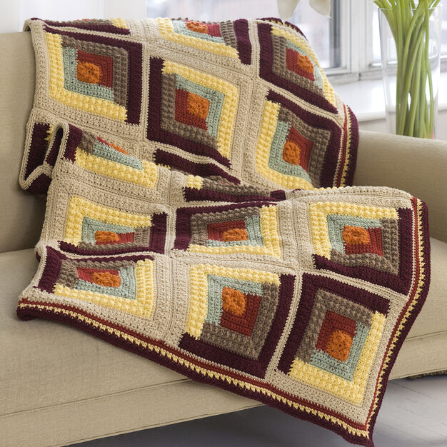 Red Heart Autumn Log Cabin Throw in color