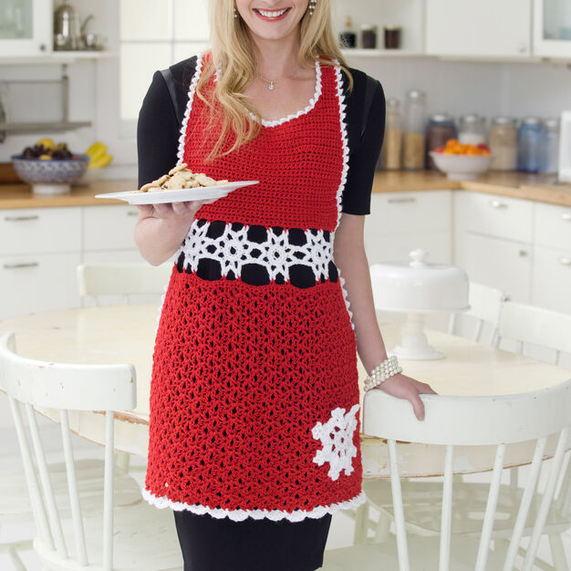 Red Heart Snowflake Hostess Apron, S in color