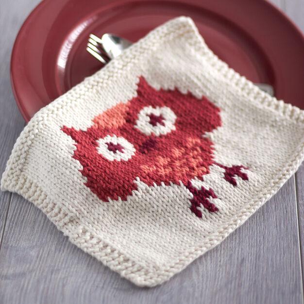 Lily Sugar'n Cream Owl Dishcloth in color