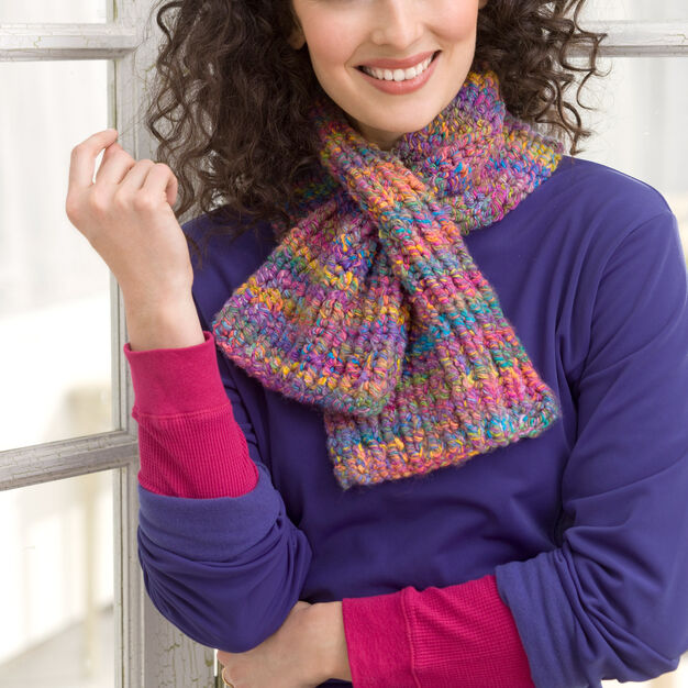Red Heart Keyhole Knit Scarf in color