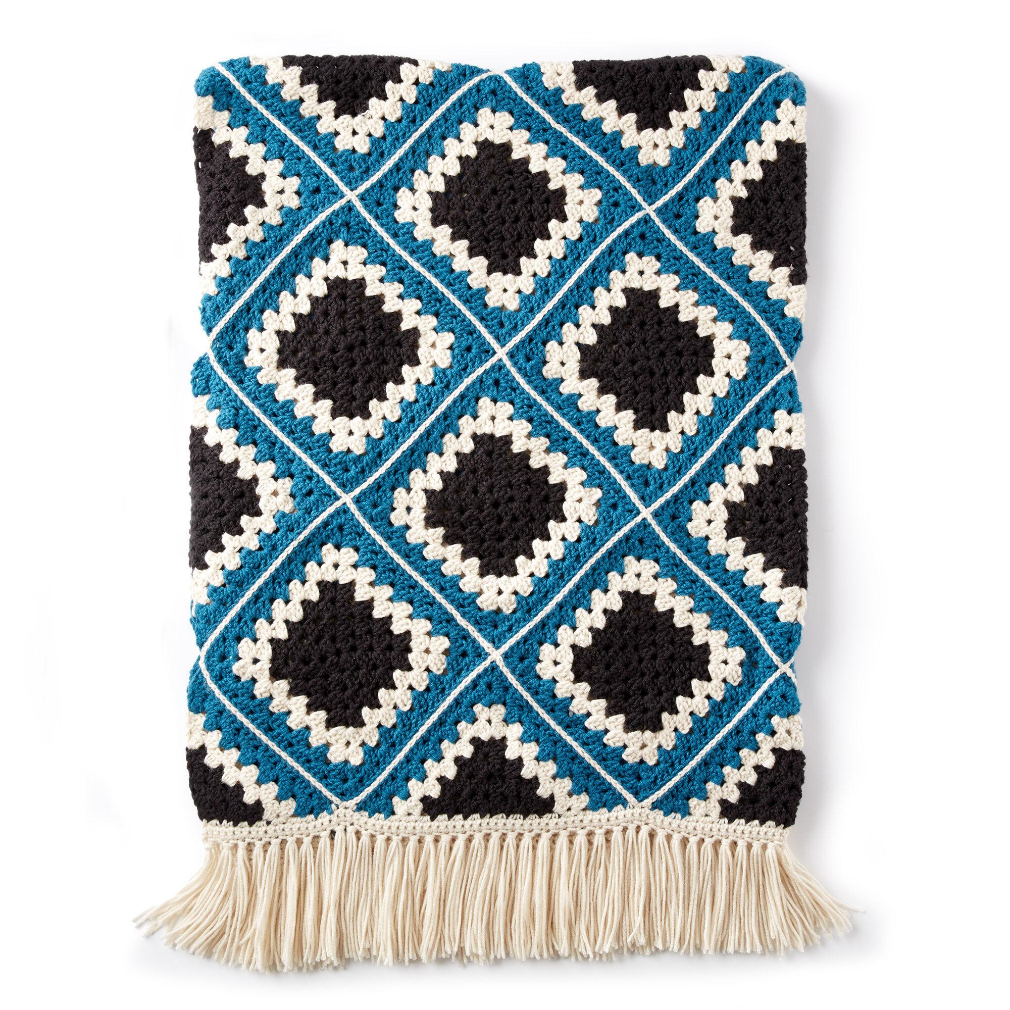 Squared Diamond Granny Throw Free Crochet Pattern