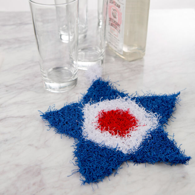 Red Heart Patriotic Knit Scrubby in color