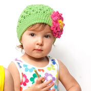 Red Heart Floral Hat, 6/12 mos