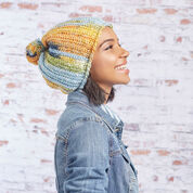 Red Heart Big Pom Slouchy Hat, S