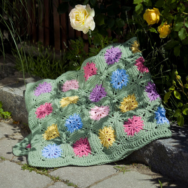 Red Heart Crochet Flower Field Blanket in color