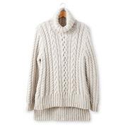 Patons Split Hem Cable Knit Pullover, XS/S