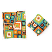 Patons Bright Squares Blanket and Pillow Set