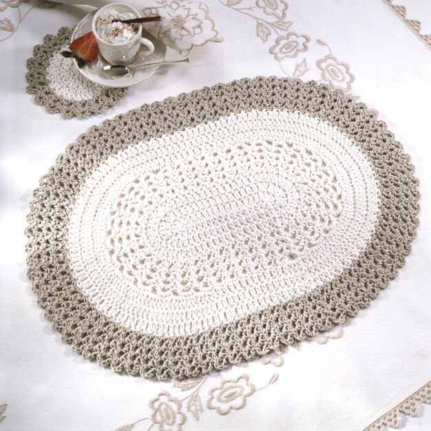 Red Heart Oval Placemat & Coaster in color