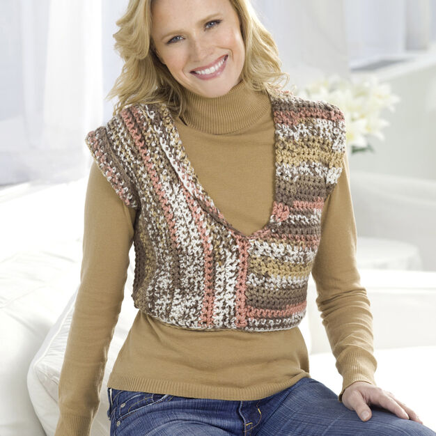 Red Heart Right Angle Crocheted Vest, S in color