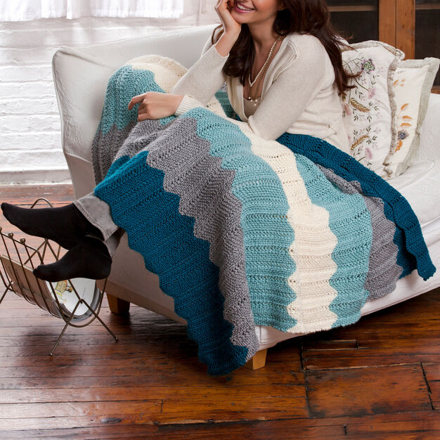 Red Heart Chevron Knit Throw
