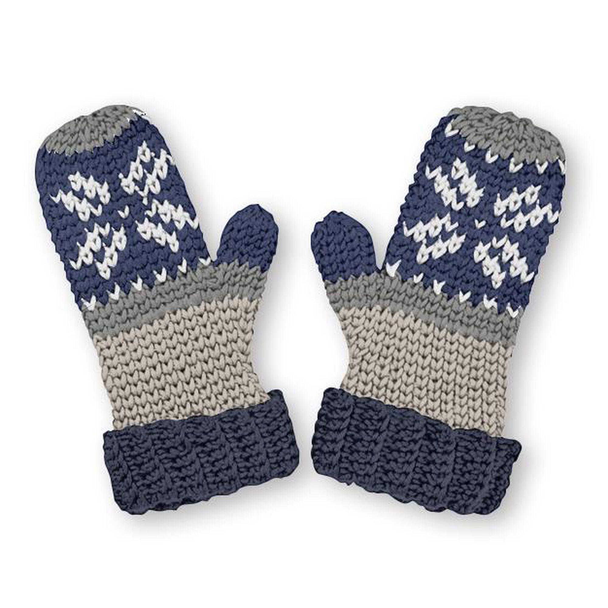 Caron X Pantone Fair Isle Crochet Mittens Pattern Yarnspirations