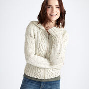 Caron Cozy Cable Knit Hooded Cardigan, XS