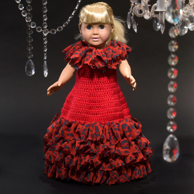 Red Heart Debutante Doll Dress in color