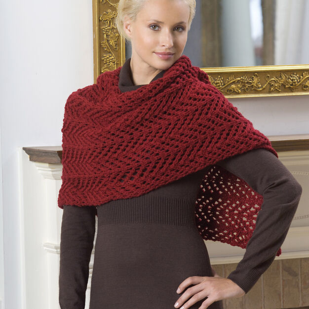 Red Heart Knit Lace Shawl in color