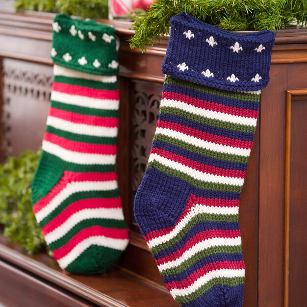 Red Heart Striped Christmas Stocking in color