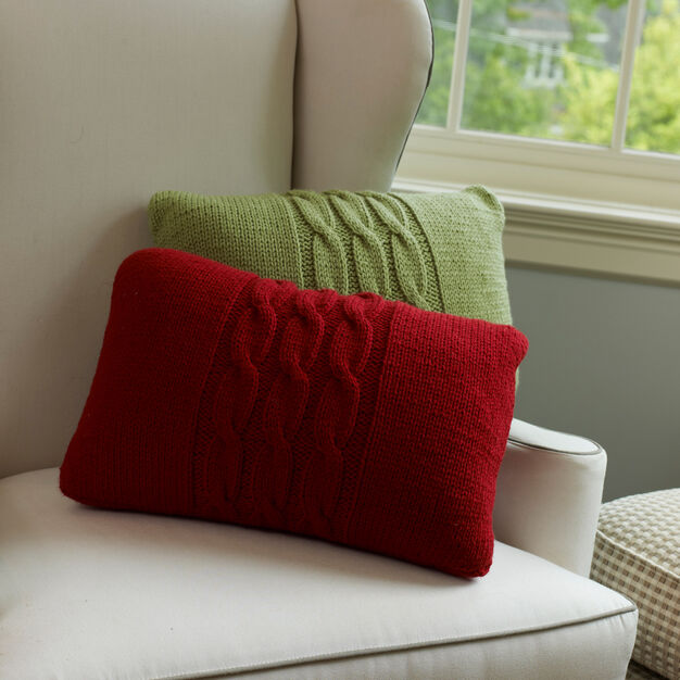 Red Heart Cabled Pillows in color