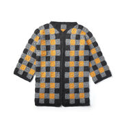 Patons Buffalo Plaid Crochet Cardigan, XS-M