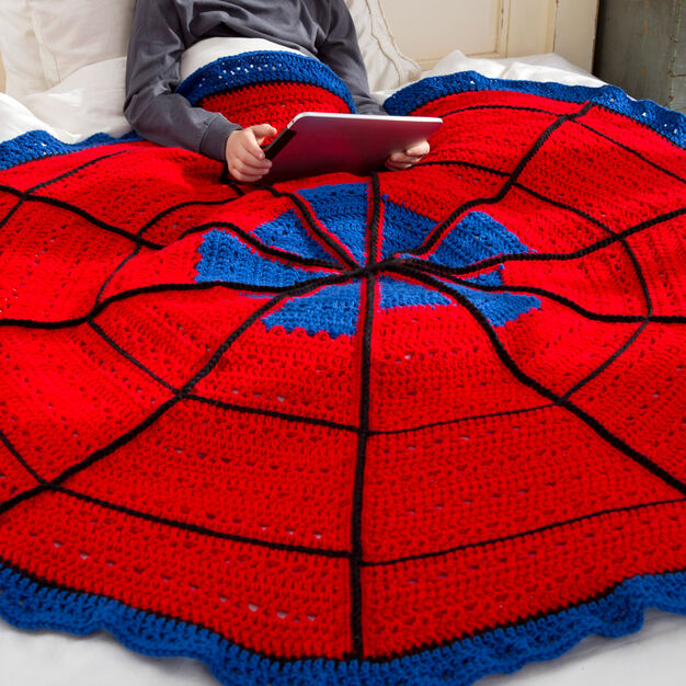 Red Heart Spider Web Throw in color