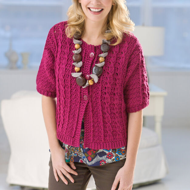Red Heart Crochet Cable Cardi, S in color