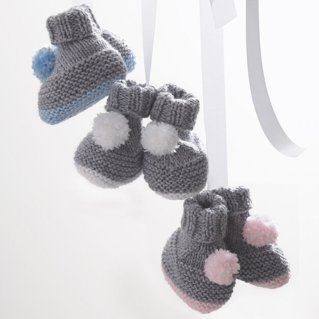 Bernat Pompom Booties, 3 mos in color